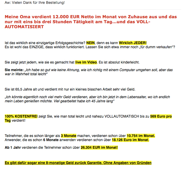 Spam-E-Mail mit Oma